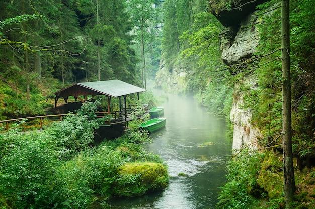 Bekijk kloven in tsjechisch zwitserland aan de rivier de kamenice