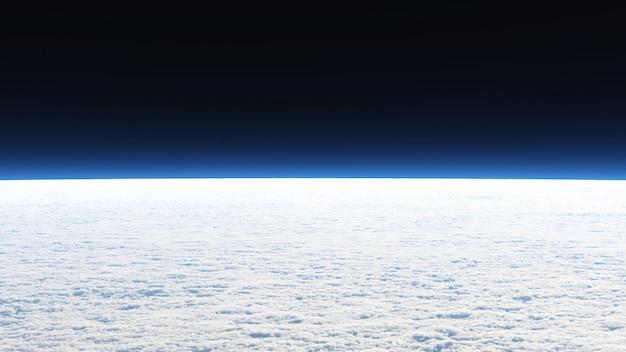 Bekijk on the cloud-achtergrond in landschaps- en ruimtescène.