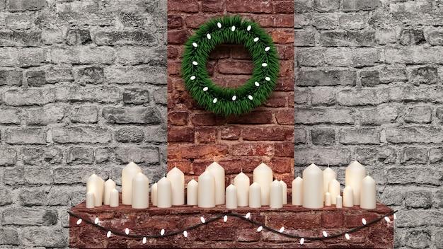 Bekijk op groep candless stands op open haard