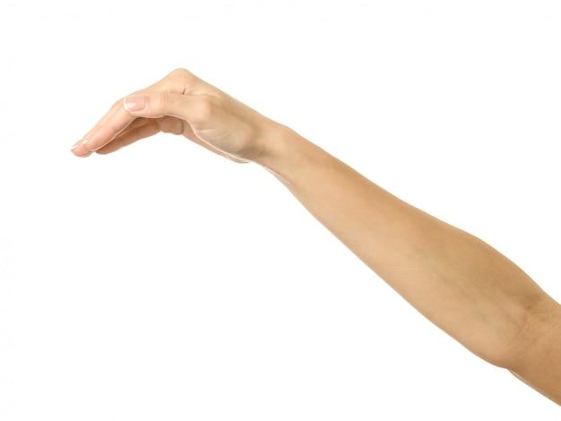 Bekleding en bescherming. vrouwenhand gesturing geïsoleerd op wit