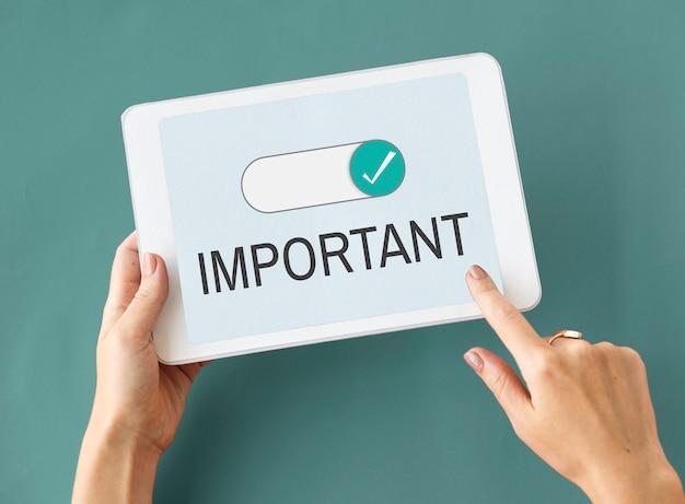 Belangrijk belangrijk prioriteitsberichtconcept