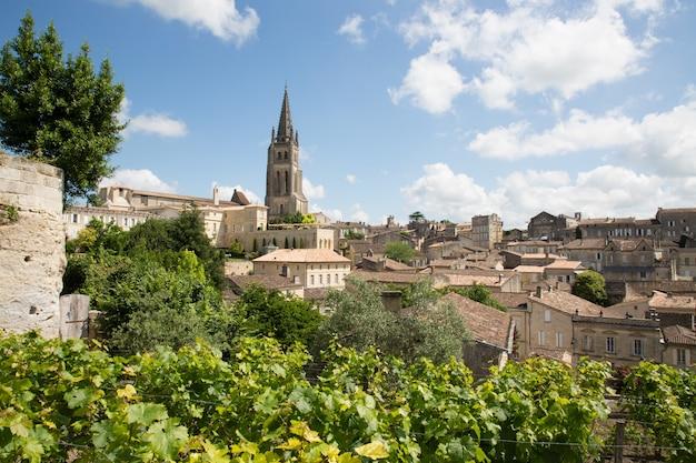 Belangrijkste rode wijnproductiegebieden van het dorp saint emilion in bordeaux