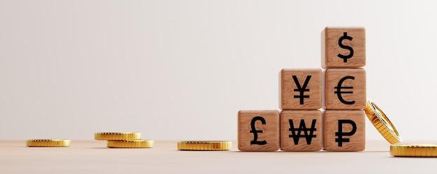 Belangrijkste wereldwijde valuta-afdrukscherm op houten kubusblok zoals dollar yen euro pound met gouden munten voor het wisselen van valuta door 3d render.