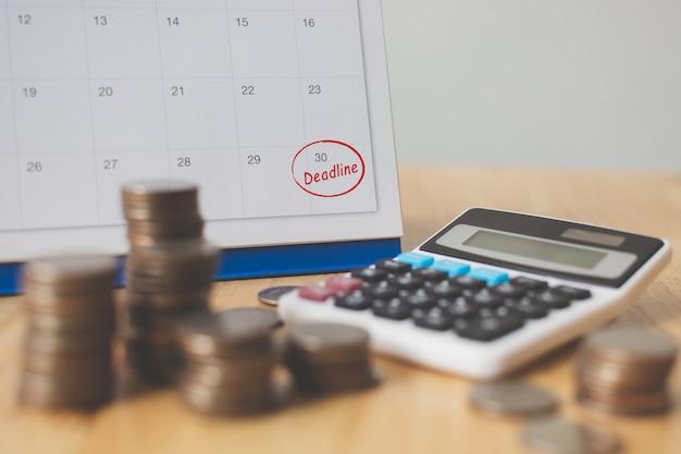 Belasting betaling seizoen en finance incasso deadline concept