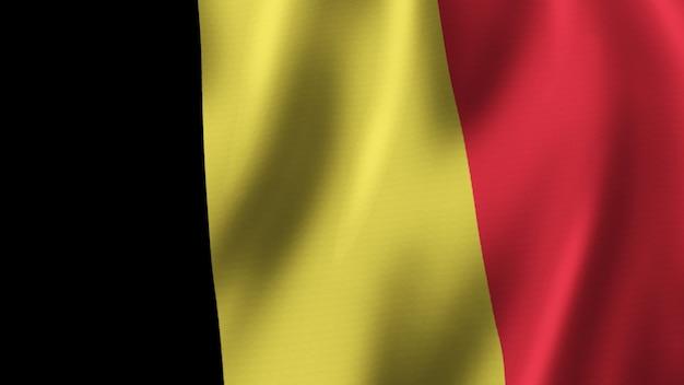 België vlag zwaaien close-up 3d-rendering met afbeelding van hoge kwaliteit met stof textuur