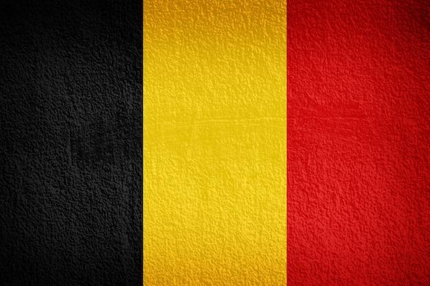 Belgische vlag die op grungemuur wordt geschilderd