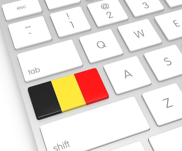 Belgische vlag op computersleutel. 3d-rendering