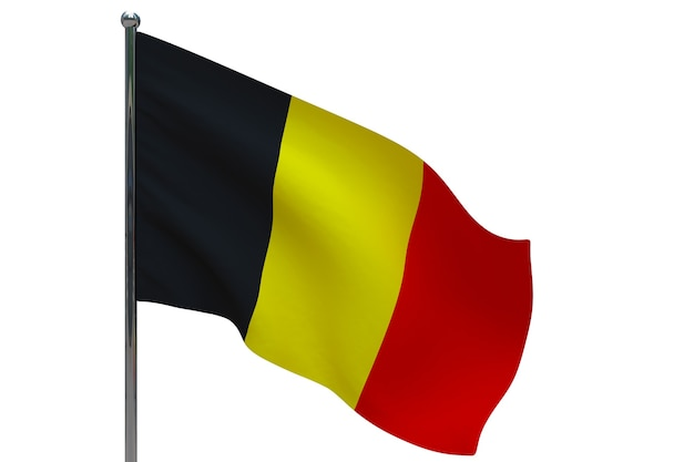 Belgische vlag op paal. metalen vlaggenmast. nationale vlag van belgië 3d illustratie op wit
