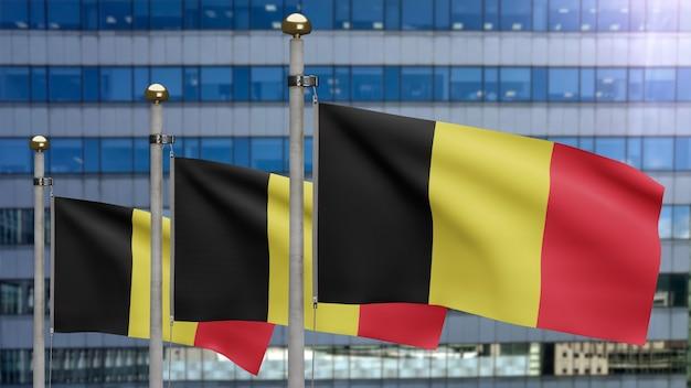 Belgische vlag zwaait met een moderne wolkenkrabberstad