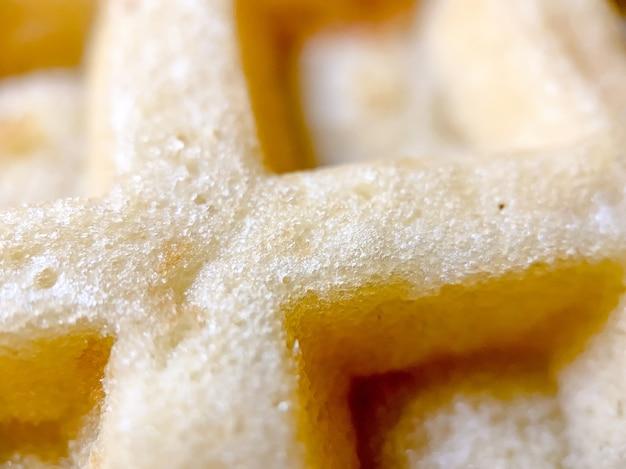 Belgische wafelclose-up van een gekookte wafel. fotografie van desserts.