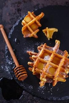 Belgische wafels met honing