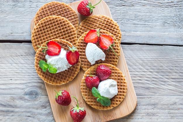 Belgische wafels met ricotta en aardbeien
