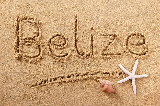 Belize strand zand teken bericht