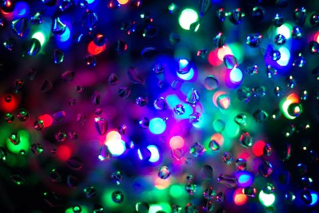 Bellen achtergrondkleurentextuur op glas. bokeh