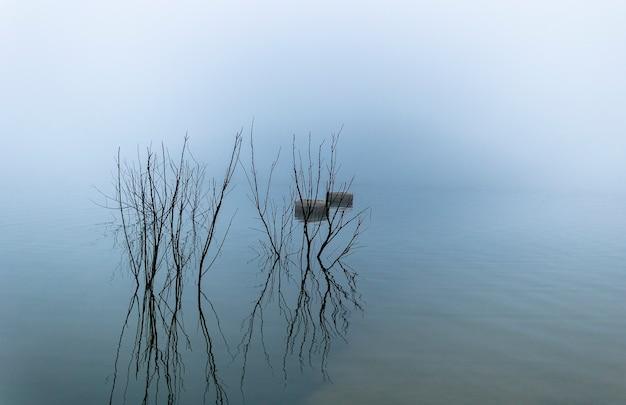 Bellus-reservoir in een mistige dag met reflecties, valencia, spanje.