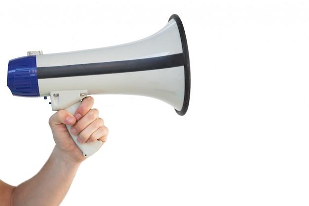 Bemant hand houdend een megafoon