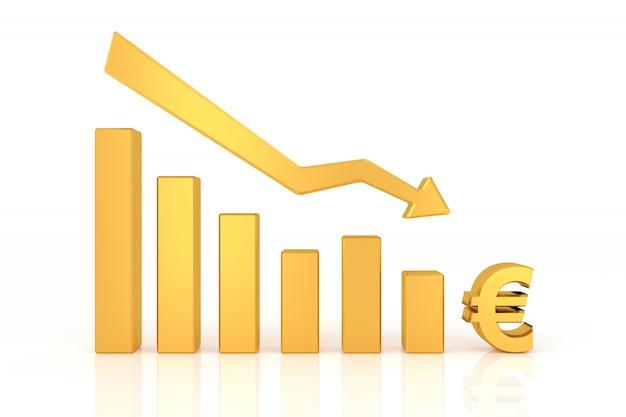 Beneden grafiek van euro valuta. 3d-rendering.