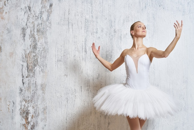 Benen ballerina pointe-schoenen witte tutu prestaties.
