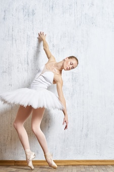 Benen ballerina pointe-schoenen witte tutu prestaties