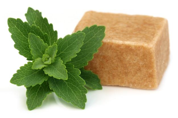 Bengaalse snoepjes genoemd als sandesh met stevia op witte achtergrond