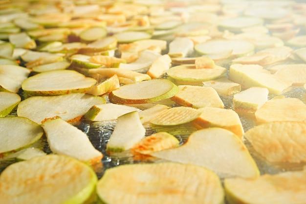 Bereidingen voor de winter van verschillende soorten fruit geassorteerde appel- en perenchips gezonde veganistische snack