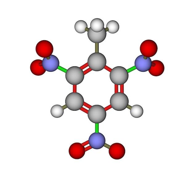 Berekende en geoptimaliseerde moleculaire structuur van explosief 2,4,6-trinitrotolueen (tnt)