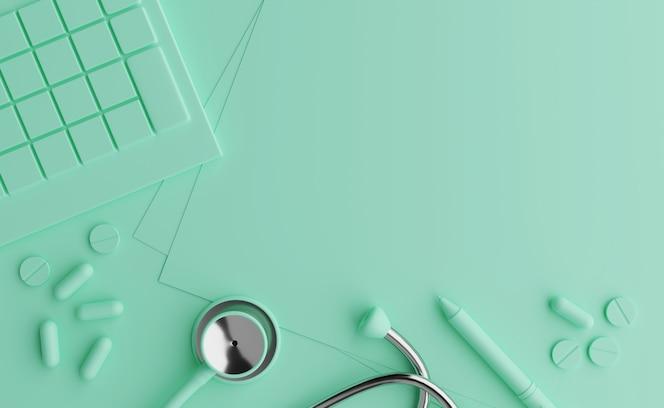 Berekening van ziektekostenverzekering, kosten voor een goede gezondheid. pastel achtergrond