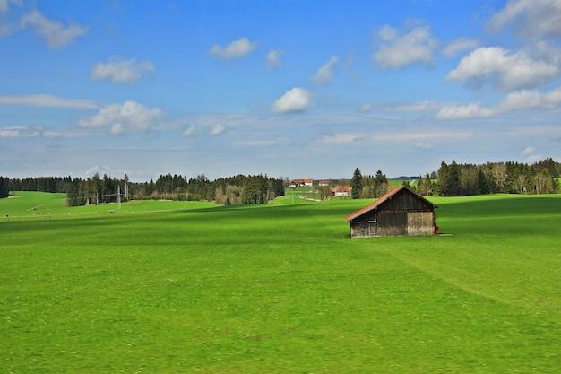 Berg, bosopheldering en groen gebied boven een dorp in zwitserland.