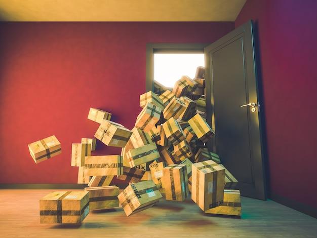 Berg pakketten die in een huis vallen.