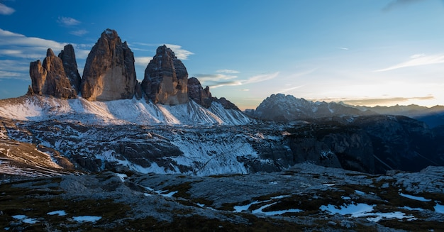 Berg tre cime di lavaredo in italiaanse alpen