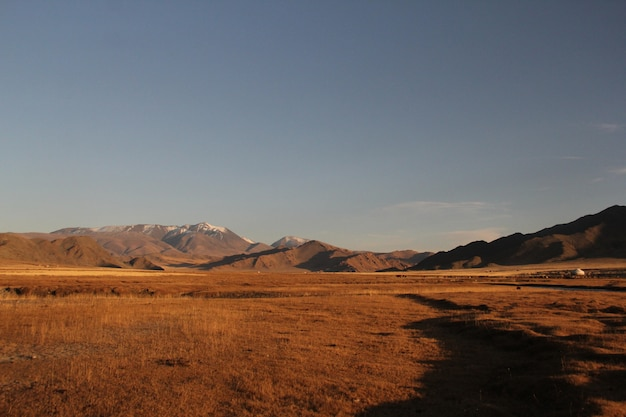 Bergachtig landschap met droog gras en rotsachtige heuvels