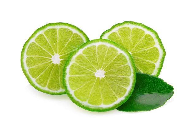 Bergamotfruit met blad op witte achtergrond wordt geïsoleerd die