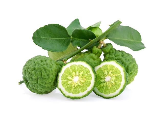 Bergamotfruit met geïsoleerd blad