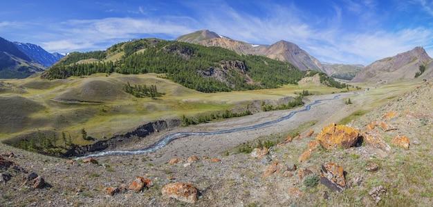 Bergdal met rivier, droge hellingen en bos