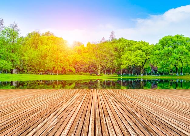 Bergen decoratie bos reflectie vorm blauwe lucht en witte wolken