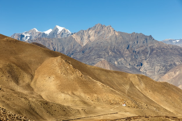 Berglandschap, himalaya, mustang, nepal