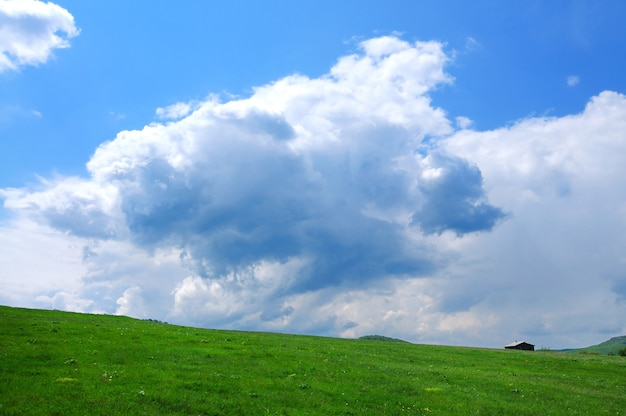 Berglandschap, weiland met groen gazon, klein dorpje en heuvels in de verte, witte wolken in de lucht