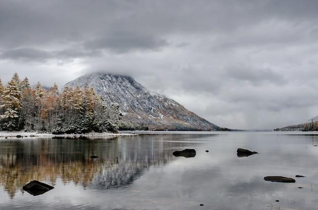 Bergmeer froliha, pijnboom en stenen met sneeuw bij spiegelmeer