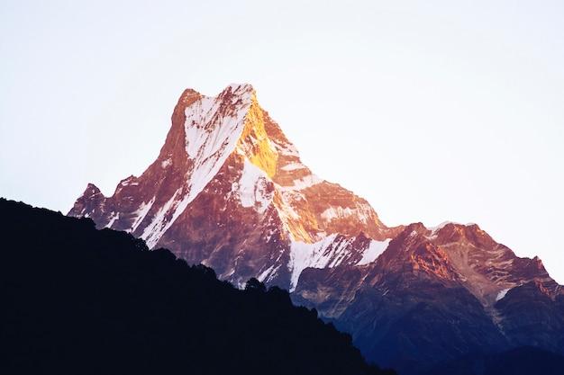 Bergpiek met ochtendlicht op wit