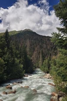 Bergrivier met een snelle stroming in de kaukasus