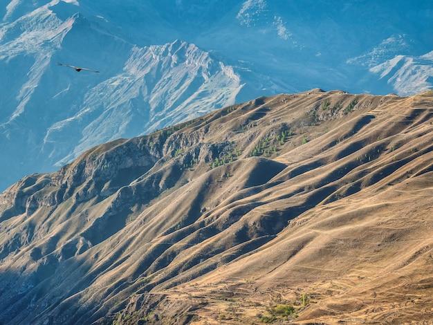 Bergtextuur, bergterrein. dagestan heuvels van bovenaf.