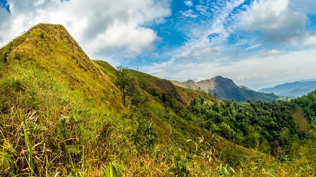 Bergtop bereik landschap. uitzicht op de groene bergketen.