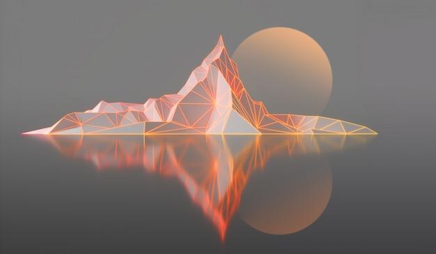 Bergtoppen met een gloeiende verlichte 3d-afbeelding