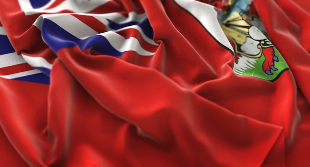 Bermuda flag ruffled mooi wave macro close-up shot
