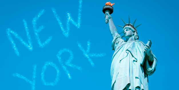 Beroemd vrijheidsbeeld, new york, speciale fotografische verwerking.