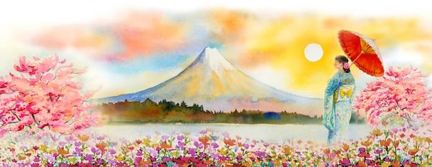 Beroemde bezienswaardigheden van japan in het voorjaar.