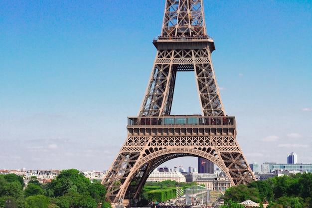 Beroemde eiffeltoren details close-up, parijs, frankrijk,