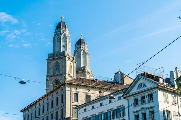 Beroemde grossmunster-kerk in zürich