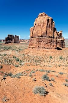 Beroemde red rock-formaties, gelegen in arches national park in moab, utah Premium Foto