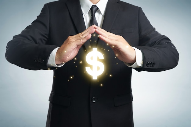 Bescherm bedrijfsfinanciën en belastingoptimalisatie, bedrijfsinvesteringen, vertegenwoordigd door dollarteken.
